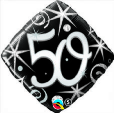 50th Birthday Sparkles & Swirls Foil Balloon
